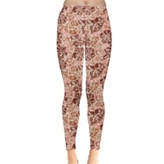 Brown Grunge Hibiscus Flowers Pattern Vintage Floral Women s Leggings by CoolDesigns