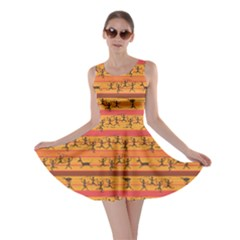 Orange Comic Pattern Of Hunting African Aborigines Skater Dress by CoolDesigns