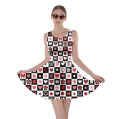 Brown Black And White Checkered Pattern With Red Hearts Seamless Skater Dress by CoolDesigns