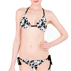 Black Yin And Yang Symbols Black And White Pattern Bikini Set by CoolDesigns