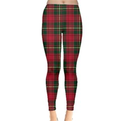 Green Red Check Leggings  by CoolDesigns