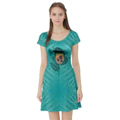 Aqua Hawaii Short Sleeve Skater Dress