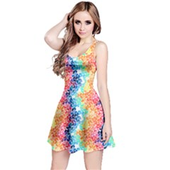 Colorful 4 Rainbow Petals Sleeveless Skater Dress  by CoolDesigns