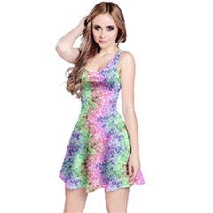 Colorful 2 Rainbow Petals Sleeveless Skater Dress