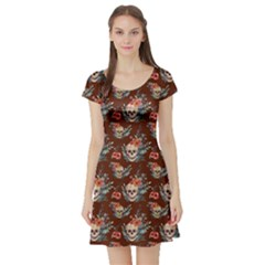 Brown Skull Vintage Floral Short Sleeve Dress by CoolDesigns