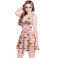 Beige Watercolor Cupcakes Pattern Sleeveless Skater Dress
