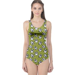 Olive Pandas Pattern Women s One Piece Swimsuit  by CoolDesigns
