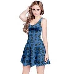 Blue Radio Cd Player Music Pattern Sleeveless Dress
