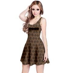 Brown Vintage Bicycles Outline Pattern Sleeveless Dress