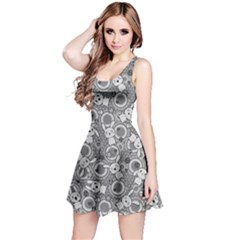 Gray Pattern Doddle Kawaii Sleeveless Skater Dress by CoolDesigns