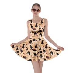 Beige Cats In Action Pattern Skater Dress by CoolDesigns