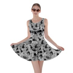 Gray Cats In Action Pattern Skater Dress by CoolDesigns