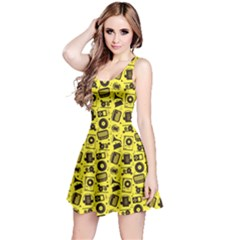 Yellow Radio Cd Player Music Pattern Sleeveless Dress by CoolDesigns
