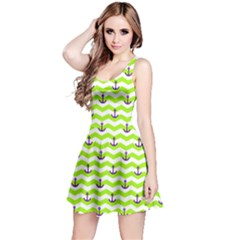 Neon Green Sailor Tile Pattern With Anchor On Sleeveless Skater Dress by CoolDesigns