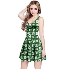 Dark Green Radio Cd Player Music Pattern Sleeveless Dress