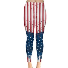 Red Stripe Design American Flag Leggings by CoolDesigns