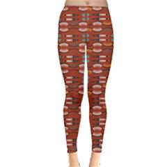 Dark Orange Tribal Aztec Leggings by CoolDesigns