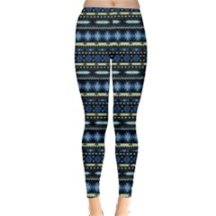 Blue & Yellow Tribal Aztec Leggings