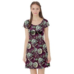 Paeonia2 Vintage Floral Short Sleeve Dress