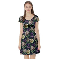 Paeonia3 Vintage Floral Short Sleeve Dress by CoolDesigns
