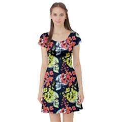 Skull2 Vintage Floral Short Sleeve Dress by CoolDesigns