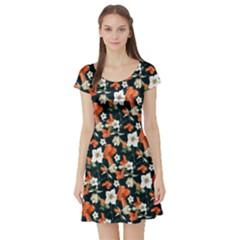 Teal & Orange Vintage Floral Short Sleeve Dress by CoolDesigns