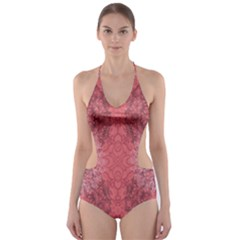 Coral Damask Cut Out One Piece Swimsuit by CoolDesigns