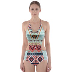 Mint Tribal Cut Out One Piece Swimsuit by CoolDesigns