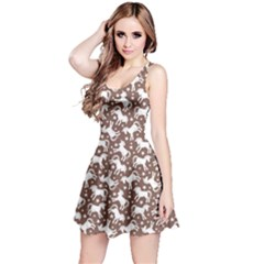 Brown 2 Unicorn Seamless Sleeveless Skater Dress  by CoolDesigns