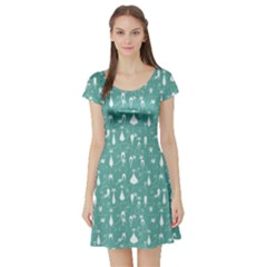 Mint Cat Short Sleeve Skater Dress by CoolDesigns