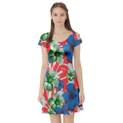 Red Hawaii Short Sleeve Skater Dress by CoolDesigns
