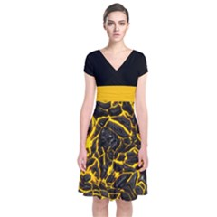 Lava Short Sleeve Front Wrap Dress by CoolDesigns