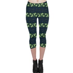 Shamrock Stripes 2 Capri Leggings  by CoolDesigns