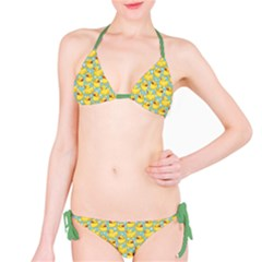 Green Pattern With Yellow Ducks Bikini Set by CoolDesigns