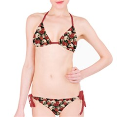 Brown Skull And Flowers Day Of The Dead Vintage Bikini Set
