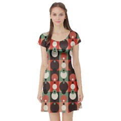 Colorful Vintage Circle Pattern Short Sleeve Skater Dress by CoolDesigns