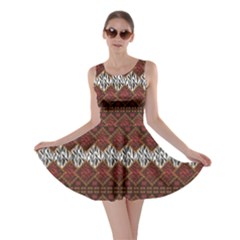 Brown African Style With Wild Animal Skin Pattern Skater Dress by CoolDesigns