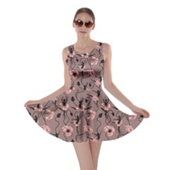 Brown Pattern Of Stylized Dance Of Flowers And Ballerinas Skater Dress