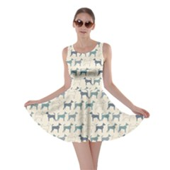 Gray Cute Doodle Pattern Of Dog Silhouettes Endless Skater Dress by CoolDesigns