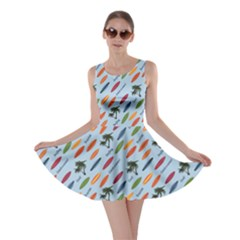 Blue Vacation Pattern With Surfboards Skater Dress by CoolDesigns