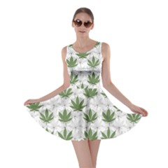 Green Marijuana Badges With Marijuana Leaves Skater Dress
