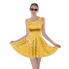 Yellow Yellow Pattern With Music Notes And Key Skater Dress by CoolDesigns
