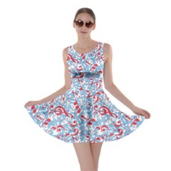 Blue Colorful Dotted Music Pattern With Aquatic Musical Skater Dress