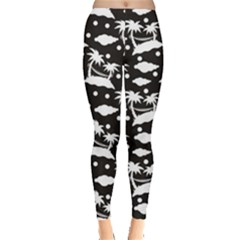 Black Pattern With Silhouettes Coconut Palm Trees Hammock Women s Leggings by CoolDesigns