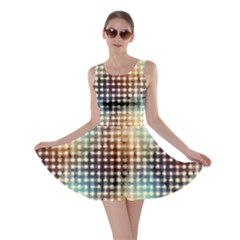 Brown Pattern Grunge Retro Geometric Pattern Skater Dress by CoolDesigns