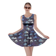 Blue Pattern With Clouds And Rain Watercolor Effect Skater Dress by CoolDesigns