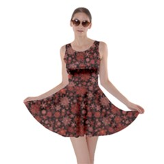 Black Snowflakes Red Pattern Skater Dress by CoolDesigns