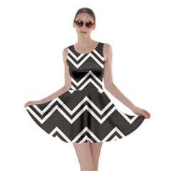 Black Black And White With Zigzag Pattern Skater Dress
