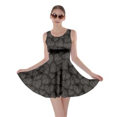 Black Beautiful Valentines Pattern With Figured Ornamental Skater Dress by CoolDesigns