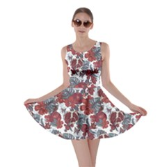Colorful Vintage Tropical Fruit Flowers Butterfly Skater Dress